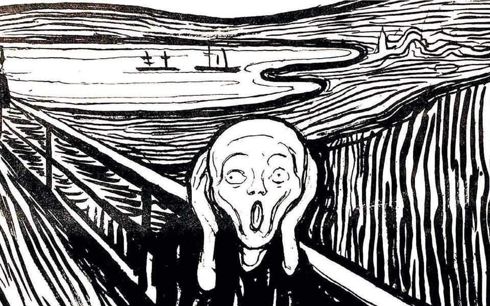 Ασπρόμαυρη εκδοχή της «Κραυγής» του Εντβαρτ Μουνκ. Μέρα με τη μέρα, η επιδημία του φόβου γίνεται εξίσου επικίνδυνη με την επιδημία του κορωνοϊού.